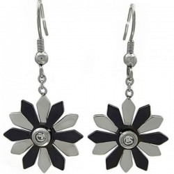 Anting SilverBlack Flower