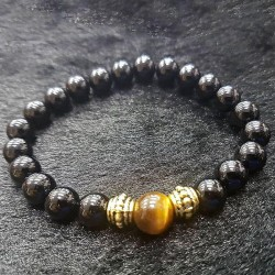 Gelang Kristal Black Onyx with Tiger Eye
