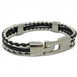 Gelang Kulit BlackWhite Twist Lockey