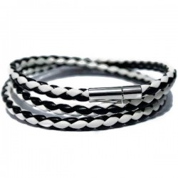 Gelang Kulit BlackWhite Twisted