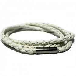 Gelang Kulit White Twisted