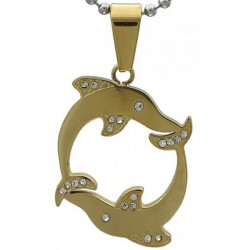 Kalung Animalia Double Gold Dolphin