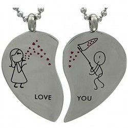 Kalung Couple Heart Love You