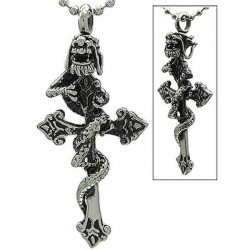 Kalung Gothic Dragon Cross