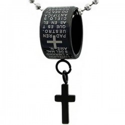 Kalung Salib Black Padre Ring Cross